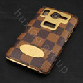 LV classic plaid leather Case Hard Back Cover for HTC Desire HD A9191 G10 - Coffee