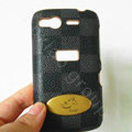 LV classic plaid leather Case Hard Back Cover for HTC Desire S G12 S510e - Black