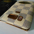 LV classic plaid leather Case Hard Back Cover for HTC Touch HD2 - Beige