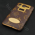 LV leather Case Hard Back Cover for HTC Desire HD A9191 G10 - Brown