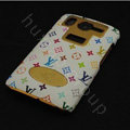 LV leather Case Hard Back Cover for HTC Desire HD A9191 G10 - White
