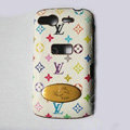 LV leather Case Hard Back Cover for HTC Desire S G12 S510e - White