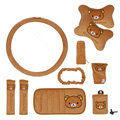 Cartoon Rilakkuma Car Use Interior Decoration Auto Inner Plush Full Set 10pcs - Brown