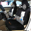 Fashion Embem bear Leopard Universal Auto Car Seat Covers Velvet Full Set 18pcs - Black