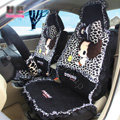 Fashion ddung Leopard Lace Universal Auto Car Seat Covers Plush Velvet Full Set 18pcs - Black
