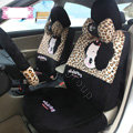 Fashion ddung Leopard Universal Auto Car Seat Covers Velvet Full Set 18pcs - Black Brown