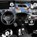 Genuine Mickey Mouse Car Use Interior Decoration Auto Inner Cotton Full Set 10pcs - Black