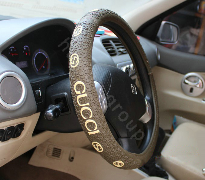 buy wholesale gucci auto car steering wheel cover rubber diameter 15 inch 38cm coffee from. Black Bedroom Furniture Sets. Home Design Ideas