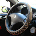 Gucci Stripe Auto Car Steering Wheel Cover Rubber Black Diameter 15 inch 38CM - Coffee