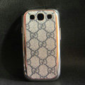 Gucci leather Cases Gold plated Hard Back Covers for Samsung Galaxy SIII S3 I9300 - Gray