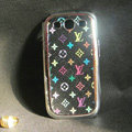 LV leather Cases Gold plated Hard Back Covers for Samsung Galaxy SIII S3 I9300 - Black