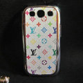 LV leather Cases Gold plated Hard Back Covers for Samsung Galaxy SIII S3 I9300 - White