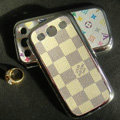 LV plaid leather Cases Gold plated Hard Back Covers for Samsung Galaxy SIII S3 I9300 - Beige