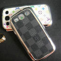 LV plaid leather Cases Gold plated Hard Back Covers for Samsung Galaxy SIII S3 I9300 - Black