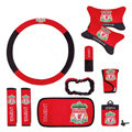 Liverpool Car Use Interior Decoration Auto Inner Artificial Plush Full Set 10pcs - Red