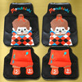 Monchhichi Universal Automobile Carpet Car Floor Mats Set Rubber 5pcs Sets - Black+Orange