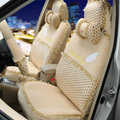 OULILAI Hello Kitty Wings Dot Universal Automobile Car Seat Cover Lace Velvet 21pcs - Beige