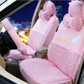 OULILAI Hello Kitty Wings Dot Universal Automobile Car Seat Cover Lace Velvet 21pcs - Pink