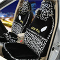 OULILAI Hello Kitty Wings Leopard Universal Automobile Car Seat Cover Lace Velvet 21pcs - Black