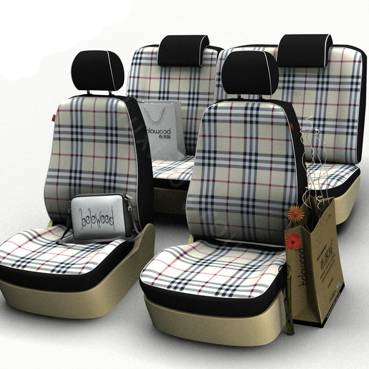 buy wholesale burberry customized cotton cloth auto car seat covers 8pcs sets for vehicle. Black Bedroom Furniture Sets. Home Design Ideas