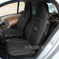 Canvas Customized Cotton Cloth Auto Car Seat Covers 2pcs Sets for Benz Smart - Black