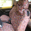 LV Canvas Customized Cotton Cloth Auto Car Seat Covers 2pcs Sets for Benz Smart - Brown