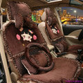Universal Cherry girl Acacia Polka Dots Car Seat Cover Plush Lace Auto Cushion 12pcs Sets - Coffee