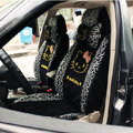 Universal Ice silk Lace Hello Kitty Giraffe print Auto Car Seat Cover 19pcs Sets - Black