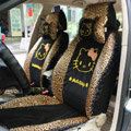 Universal Ice silk Lace Hello Kitty Leopard print Auto Car Seat Cover 11pcs Sets - Black