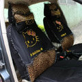 Universal Leopard print Hello Kitty Ice silk Lace Auto Car Seat Cover 11pcs Sets - Black