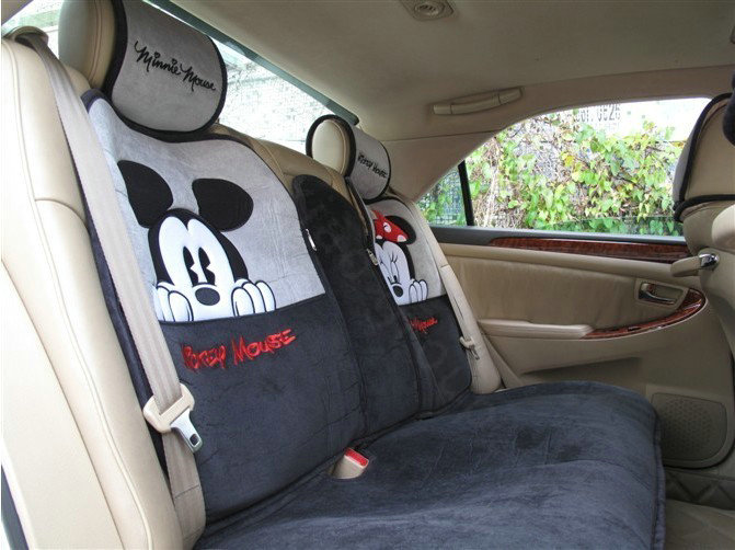 buy wholesale universal minnie mickey mouse car seat cover plush auto cushion 7pcs sets gray. Black Bedroom Furniture Sets. Home Design Ideas