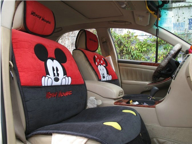 buy wholesale universal minnie mickey mouse car seat cover plush auto cushion 7pcs sets red. Black Bedroom Furniture Sets. Home Design Ideas