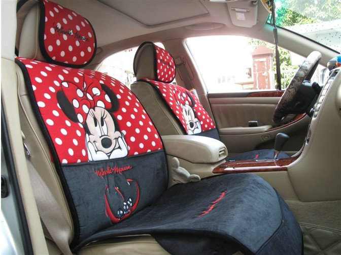buy wholesale universal minnie mouse car seat cover plush auto cushion 7pcs sets red black. Black Bedroom Furniture Sets. Home Design Ideas
