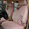 Universal Plush Velvet Hello Kitty Bowknot Auto Car Seat Cover 10pcs Sets - Pink