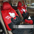 Universal Plush Velvet Hello Kitty Polka Dots print Auto Car Seat Cover 10pcs Sets - Red+Black