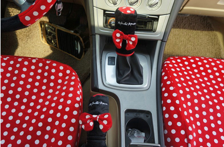 buy wholesale universal plush velvet minnie mouse polka dots print auto car seat cover 10pcs. Black Bedroom Furniture Sets. Home Design Ideas