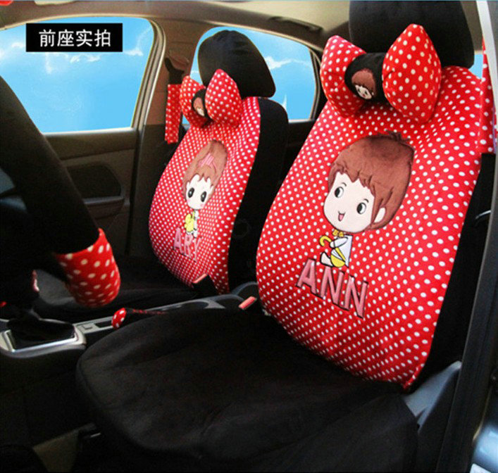 buy wholesale universal velvet ary ann polka dots print car seat cover 18pcs sets black red. Black Bedroom Furniture Sets. Home Design Ideas