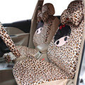 Universal Velvet Cherry girl Acacia Leopard Car Seat Cover 18pcs Sets - Brown