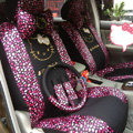 Universal Velvet Hello Kitty Heart print Auto Car Seat Cover 18pcs Sets - Rose+Black