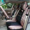 Universal Velvet Hello Kitty Leopard print Auto Car Seat Cover 18pcs Sets - Black
