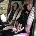 Universal Velvet Hello Kitty Polka Dots print Auto Car Seat Cover 10pcs Sets - Black+Pink