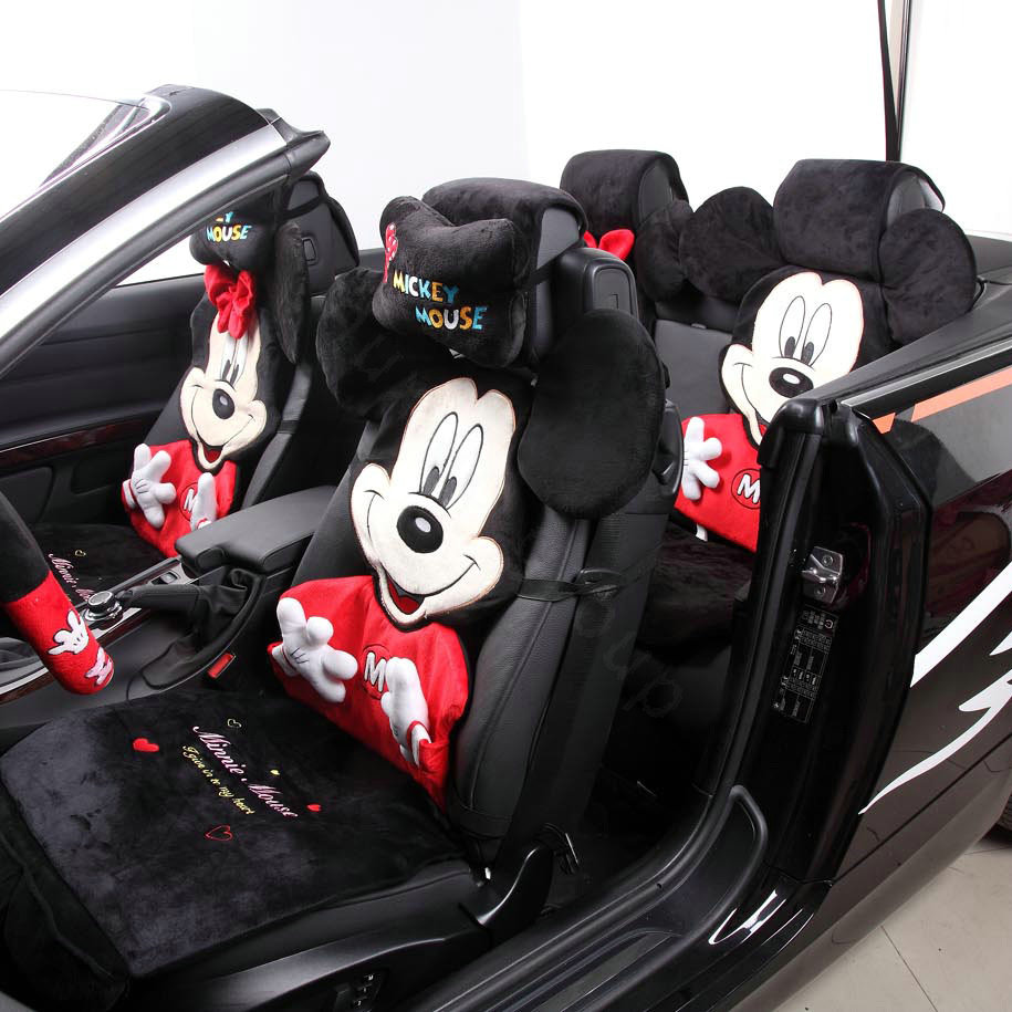buy wholesale universal velvet minnie mouse polka dots car seat cover auto cushion 12pcs sets. Black Bedroom Furniture Sets. Home Design Ideas