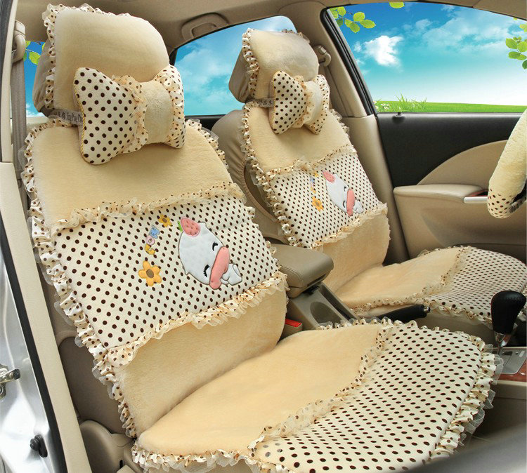 buy wholesale universal velvet cow polka dots print car seat cover auto cushion 9pcs sets. Black Bedroom Furniture Sets. Home Design Ideas