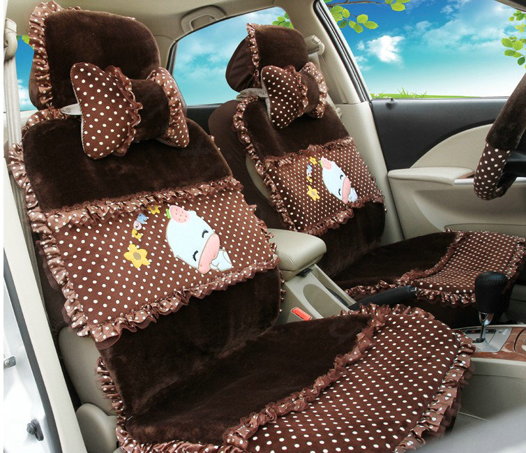 buy wholesale universal velvet cute cow polka dots print car seat cover cushion 9pcs sets rose. Black Bedroom Furniture Sets. Home Design Ideas