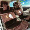 Universal Velvet Cow Polka Dots print Car Seat Cover Auto Cushion 9pcs Sets - Coffee