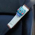 Best Cartoon Carinono Bear Velvet Automotive Seat Safety Belt Covers Car Decoration 2pcs - Blue