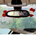 Best Cartoon Hello kitty Polka dot Velvet Automotive Rearview Mirror Covers Car Decoration - Red