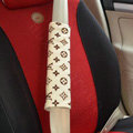 Cheapest LV Velvet Automotive Seat Safety Belt Covers Car Decoration 2pcs - Beige