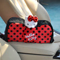 Classic Cartoon Hello kitty Polka dot Velvet Automotive Tissue Box Car Decoration - Red