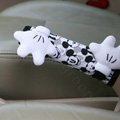 Classic Cartoon Mickey Mouse Velvet Automotive Brake Covers Car Decoration - White+black